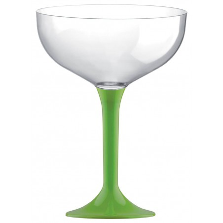 Copa de Plastico Champan con Pie Verde Lima 200ml (200 Uds)