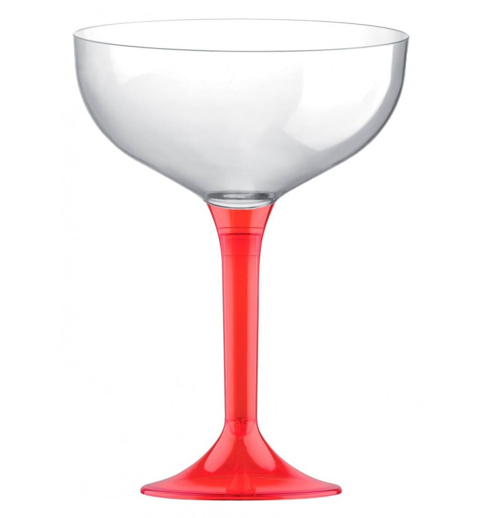 Copa de Plastico Champan con Pie Rojo Transp. 200ml (20 Uds)