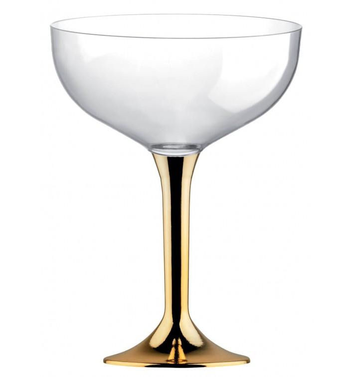 Copa de Plastico Champan con Pie Oro Cromado 200ml (200 Uds)