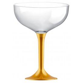 Copa de Plastico Champan con Pie Oro 120ml (20 Uds)