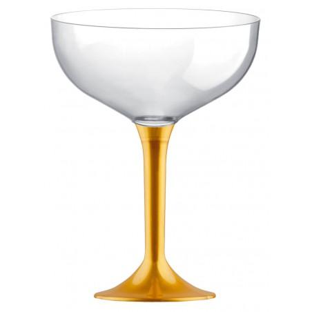 Copa de Plastico Champan con Pie Oro 200ml (20 Uds)