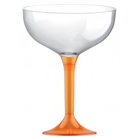 Copa Plastico Champan Pie Naranja Cristal 200ml 2P (20 Uds)