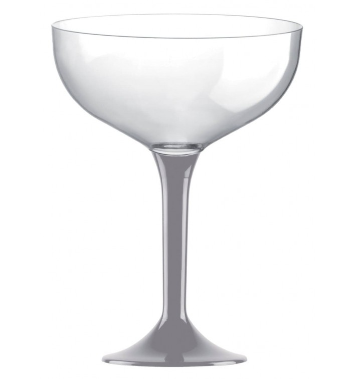 Copa de Plastico Champan con Pie Gris 200ml (200 Uds)
