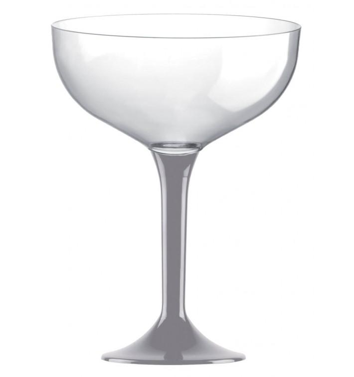 Copa de Plastico Champan con Pie Gris 200ml (20 Uds)