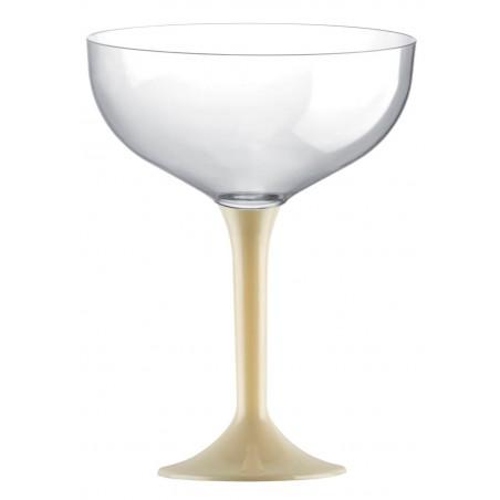 Copa de Plastico Champan con Pie Crema 200ml (20 Uds)