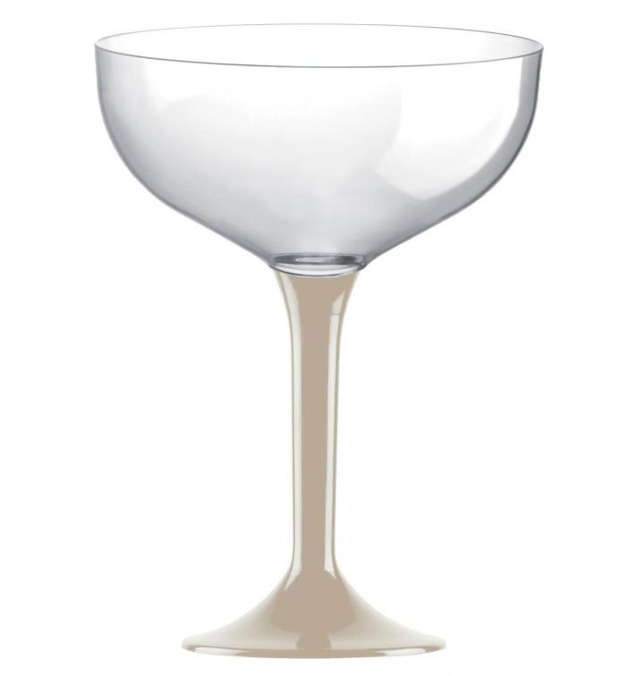 Copa de Plastico Champan con Pie Beige 200ml (20 Uds)