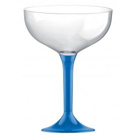 Copa de Plastico Champan con Pie Azul Transp. 120ml (200 Uds)