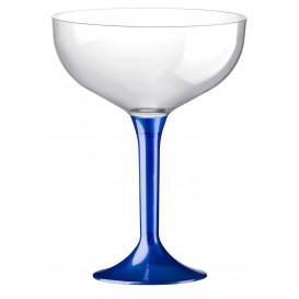 Copa de Plastico Champan con Pie Azul Perlado 200ml (20 Uds)