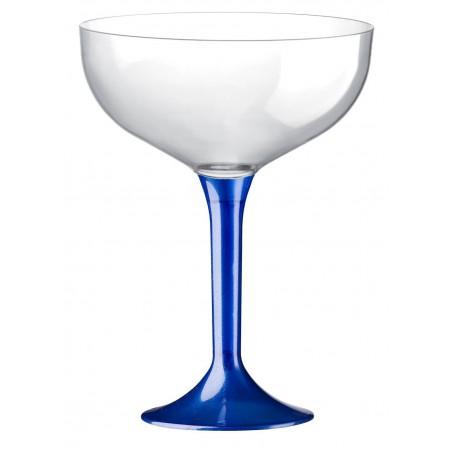 Copa Plastico Champan Pie Azul Perlado 200ml 2P (20 Uds)