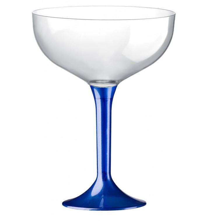 Copa de Plastico Champan con Pie Azul Mediterraneo 200ml (20 Uds)