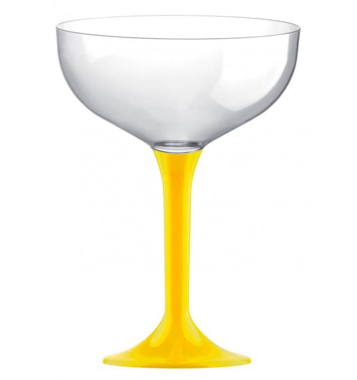 Copa de Plastico Champan con Pie Amarillo 200ml (200 Uds)