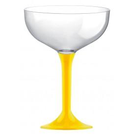 Copa de Plastico Champan con Pie Amarillo 120ml (20 Uds)