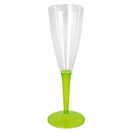 Copa de Plastico Cava Pie Verde 100ml (6 Uds)
