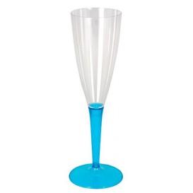 Copa de Plastico Cava Pie Turquesa 100ml (36 Uds)