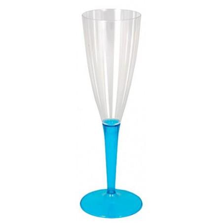 Copa de Plastico Cava Pie Turquesa 100ml (6 Uds)