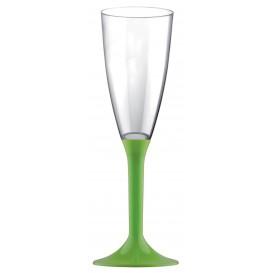 Copa de Plastico Cava con Pie Verde Lima 120ml (200 Uds)