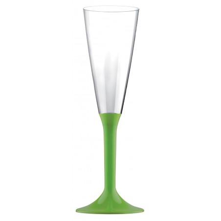 Copa de Plastico Cava con Pie Verde Lima 120ml (20 Uds)