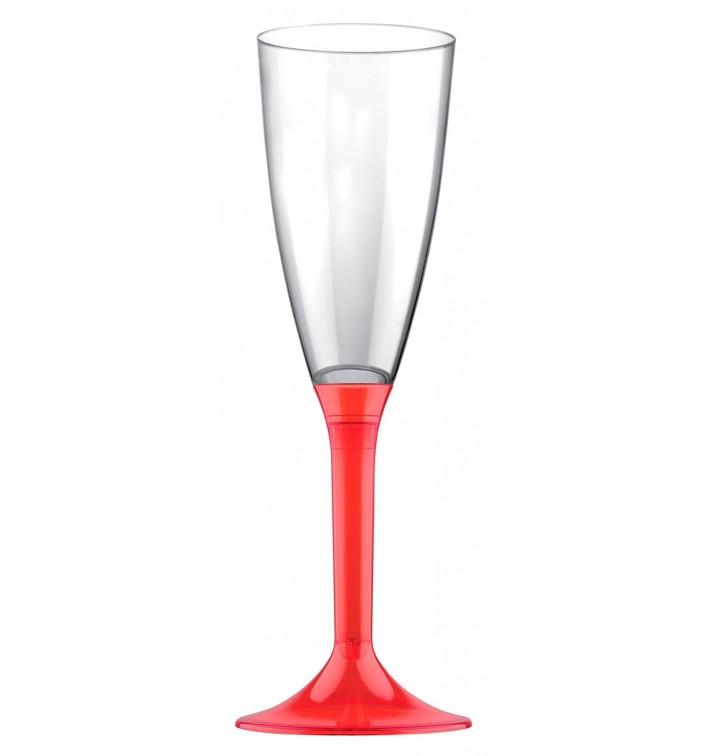 Copa de Plastico Cava con Pie Rojo Transp. 120ml (20 Uds)