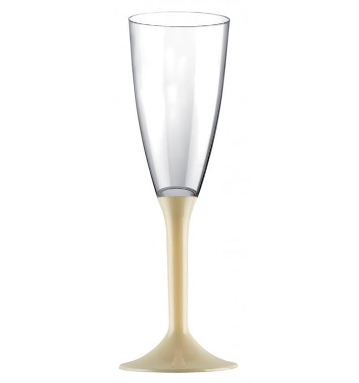 Copa de Plastico Cava con Pie Crema 120ml (20 Uds)