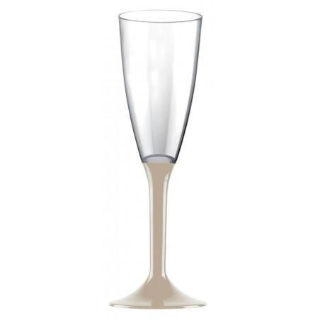 Copa de Plastico Cava con Pie Beige 120ml (200 Uds)