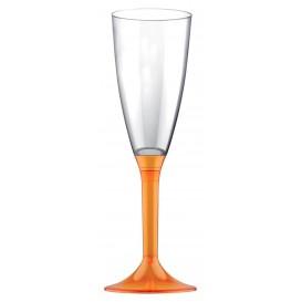 Copa de Plastico Cava con Pie Naranja Transp. 120ml (200 Uds)