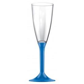 Copa Plastico Cava Pie Azul Transp. 120ml 2P (20 Uds)
