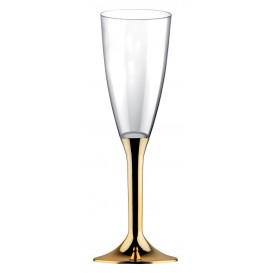 Copa de Plastico Cava con Pie Oro Cromado 120ml (200 Uds)