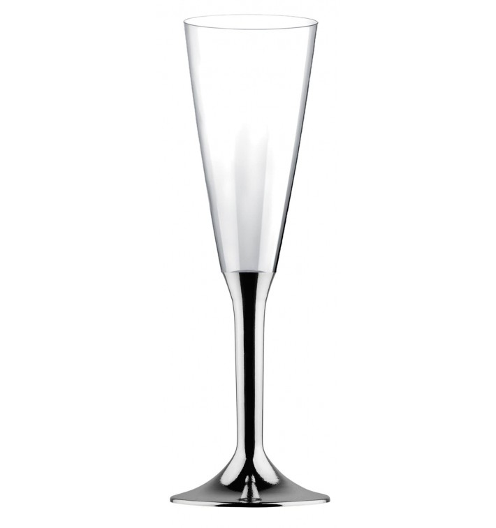 Copa de Plastico Cava con Pie Plata Cromado 160ml (200 Uds)