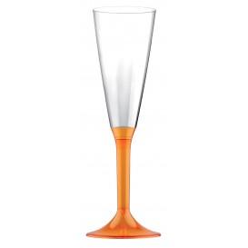Copa de Plastico Cava con Pie Naranja Transp. 160ml (200 Uds)