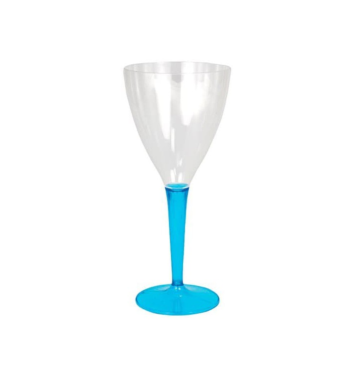 Copa de Plastico Vino Pie Turquesa 130ml (6 Uds)
