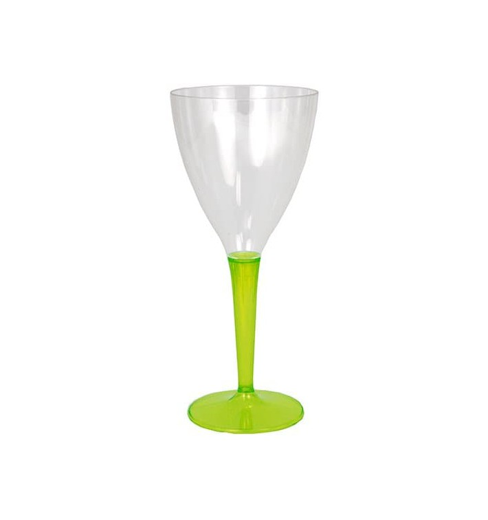 Copa de Plastico Vino Pie Verde 130ml (60 Uds)