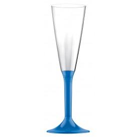 Copa de Plastico Cava con Pie Azul Transp. 160ml (20 Uds)