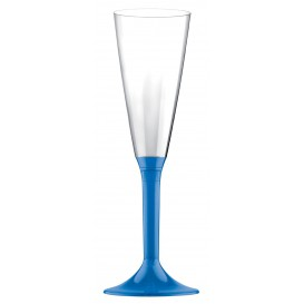 Copa de Plastico Cava con Pie Azul Transp. 160ml (200 Uds)
