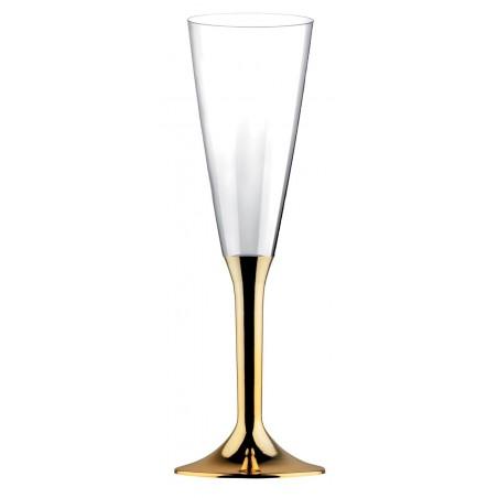 Copa de Plastico Cava con Pie Oro Cromado 160ml (20 Uds)
