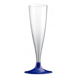 Copa de Plastico Cava con Pie Azul Perlado 140ml (200 Uds)