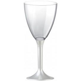 Copa de Plastico Vino con Pie Blanco Perlado 180ml (20 Uds)