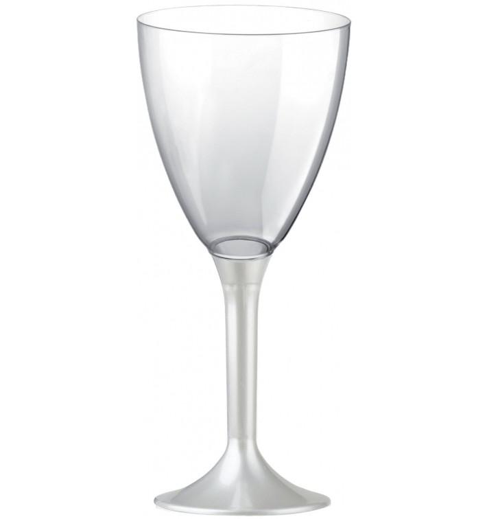 Copa de Plastico Vino con Pie Blanco Perlado 180ml (200 Uds)