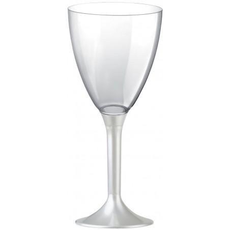 Copa Plastico Vino Pie Blanco Perlado 180ml 2P (200 Uds)