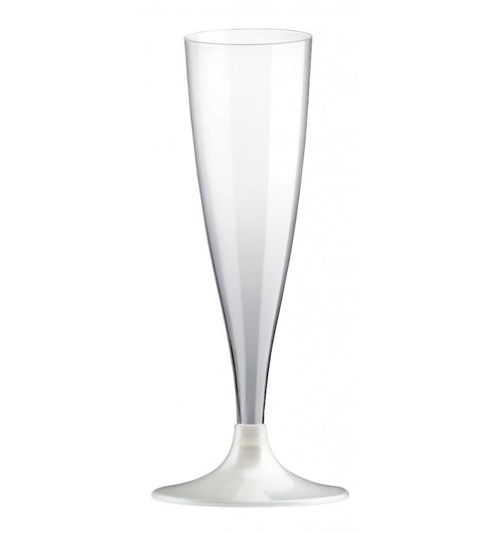 Copa de Plastico Cava con Pie Blanco 140ml (20 Uds)