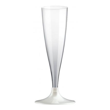 Copa de Plastico Cava con Pie Blanco 140ml (200 Uds)