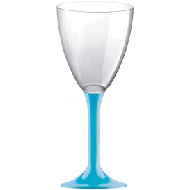 Copa de Plastico Vino con Pie Turquesa 180ml (20 Uds)