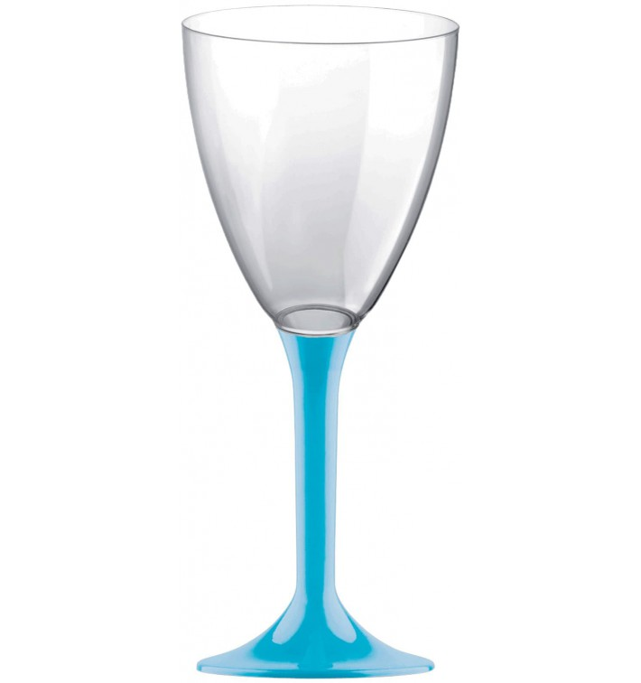 Copa Plastico Vino Pie Turquesa 180ml 2P (20 Uds)