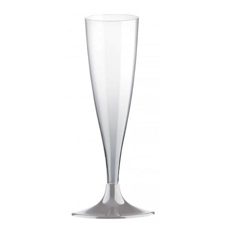 Copa de Plastico Cava con Pie Gris 140ml (20 Uds)