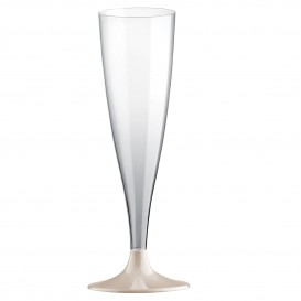 Copa de Plastico Cava con Pie Crema 140ml (20 Uds)