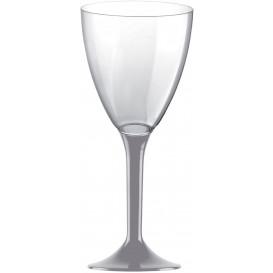 Copa de Plastico Vino con Pie Gris 180ml (20 Uds)