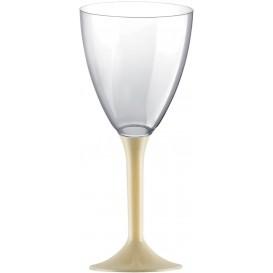 Copa de Plastico Vino con Pie Crema 180ml (20 Uds)