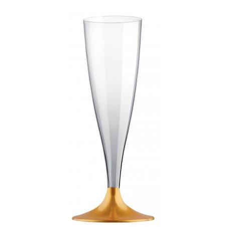 Copa de Plastico Cava con Pie Oro 140ml (20 Uds)