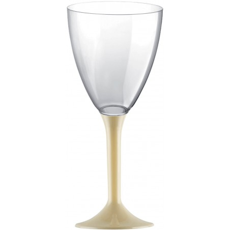 Copa de Plastico Vino con Pie Crema 180ml (200 Uds)