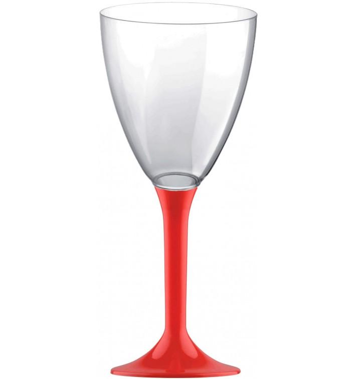 Copa Plastico Vino Pie Rojo 180ml 2P (20 Uds)