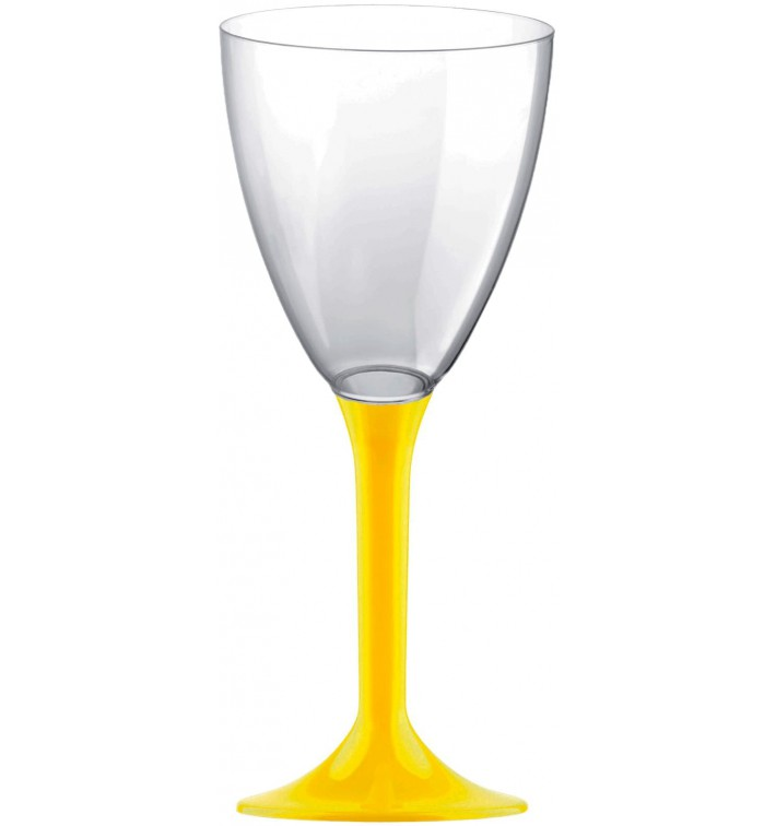 Copa de Plastico Vino con Pie Amarillo 180ml (20 Uds)